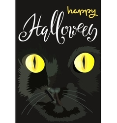 Halloween black cat with yellow eyes Halloween vector image