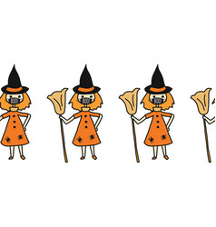halloween witch wearing face mask seamless vector image