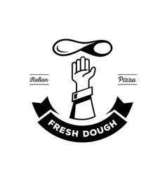 hand chef throw pizza dough logo vector image