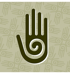 Hand with spiral symbol vector