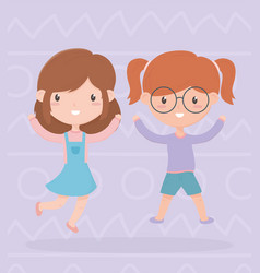 Happy childrens day two little girls with hands vector