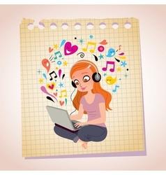 Headphones laptop redhead girl note paper cartoon vector