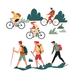 hiking walking and riding bicycle family active vector image
