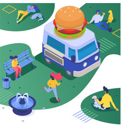 Isometric food truck fastfood vector
