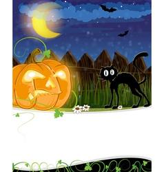 Jack o lantern and black cat vector image