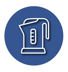 Line icon of electric kettle with shadow eps 10 vector