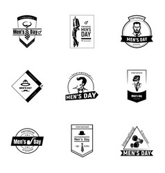 mens happy day logo set simple style vector image