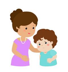 Mother soothes crying son xa vector