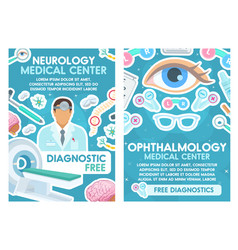 neurology and ophthalmology doctors medical poster vector image
