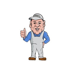 Oven Cleaner Technician Thumbs Up Cartoon vector