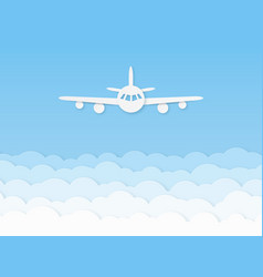 paper airplane beautiful flight plane on blue vector image