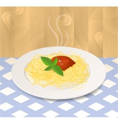 Pasta with Tomato Sauce and Basil on a Plate vector