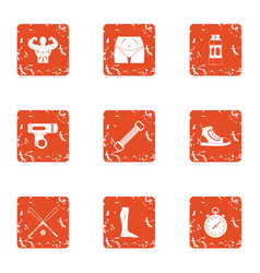 Physical preparation icons set grunge style vector