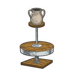 Potter wheel with pot sketch vector