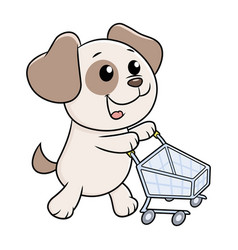 Puppy with shopping cart vector
