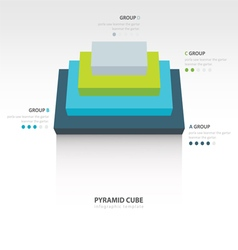 Pyramid cube infographic top view 4 color vector