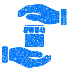 Real estate insurance hands icon grunge watermark vector