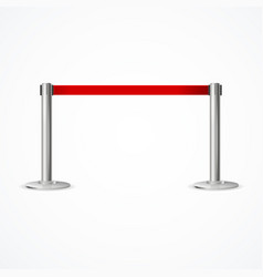 Realistic 3d detailed barrier fence with red tape vector