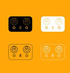 remote control set black and white icon vector image