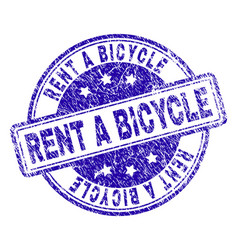 Scratched textured rent a bicycle stamp seal vector