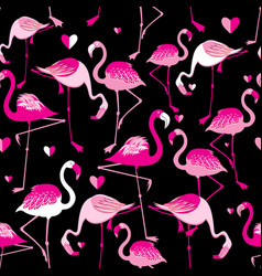 Seamless pattern from pink flamingos vector