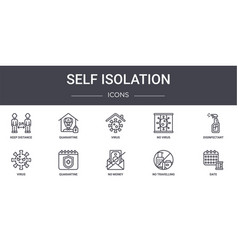 Self isolation concept line icons set contains vector