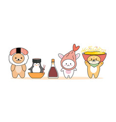 Set animals with japanese food on head on white vector