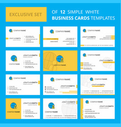 set of 12 internet creative busienss card vector image