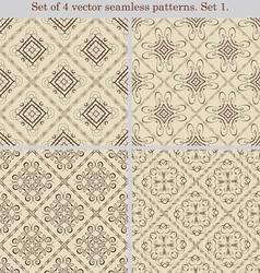 Set of 4 vintage seamless patternsSet 1 vector image