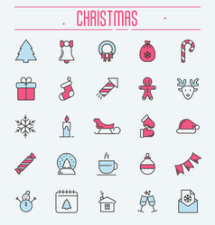 Set of new year and christmas thin line icons vector