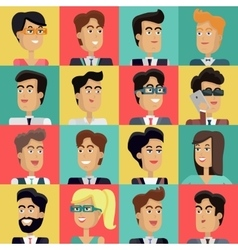 Set of Peoples Faces in Flat Design vector