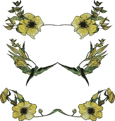 Set of watercolor yellow floral borders vector
