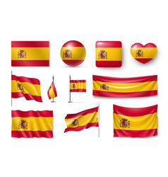 set spain flags banners banners symbols flat vector image