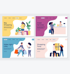 shopping landing pages shopping characters vector image
