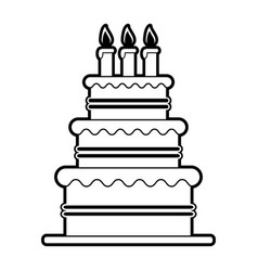 Sketch silhouette image cake with cream and vector