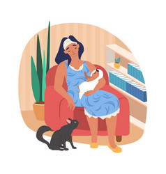 sleepy mom holding her bawhile sitting in vector image