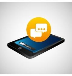 Smartphone blue screen unlock bubble speech vector
