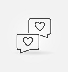 speech bubbles with hearts outline concept vector image