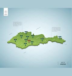 Stylized map armenia isometric 3d green map vector