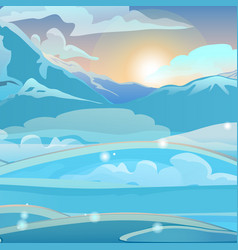 sunrise in snowy mountains sketch vector image
