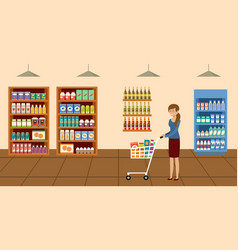 supermarket woman with shopping cart choosing and vector image