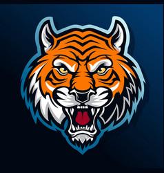 Tiger head e sport logo angry vector