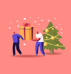 tiny male characters pull huge gifts box on snowy vector image
