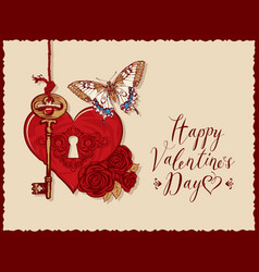 Valentine card with heart key roses and vector