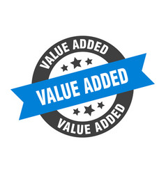 Value added sign value added blue-black round vector