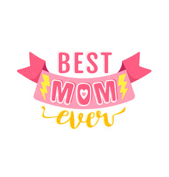 vintage logo with pink ribbon for mothers day vector image