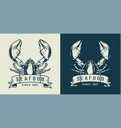 vintage monochrome seafood label vector image