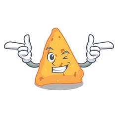 Wink nachos character cartoon style vector
