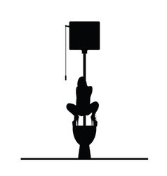 Woman on toilet cartoon silhouette vector