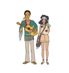 young hippie man with guitar and woman dressed in vector image